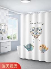 浴室浴帘卫生间隔断布帘子洗澡间淋浴防水套装免打孔窗帘挂帘门帘