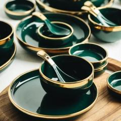 轻奢祖母绿金边碗碟套装家用网红陶瓷碗碟盘子吃饭碗西餐筷子餐具