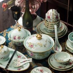 景德镇青瓷餐具套装家用景德镇中式金边碗盘组合高档碗碟富贵花开