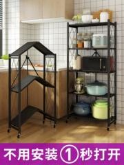 免安装折叠厨房用品置物架落地式多层宜家放锅架微波炉储物收纳架