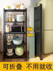 免安装折叠厨房用品置物架落地式多层宜家小推车微波炉储物收纳架