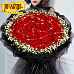 38三八妇女节99朵红玫瑰花束生日鲜花速递同城送北京深圳上海杭州